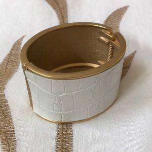Gold and white cuff bracelet